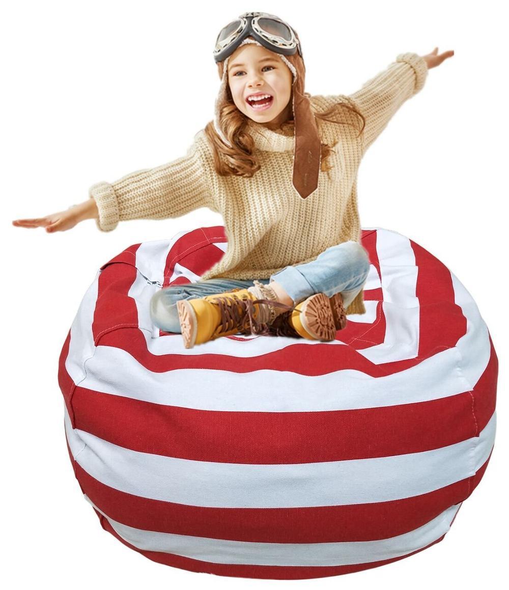 7 цветов набивная коробка животные Кресло-мешок, фасоль | Премиум детское плюшевое решение для хранения игрушек | доступно в 6 моделях - Цвет: 18inches red