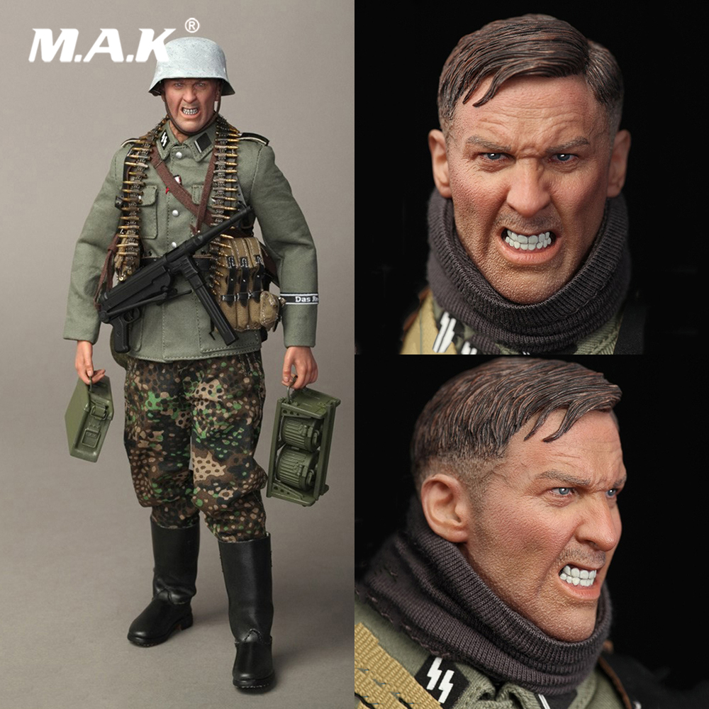 For Collection Full Set 12'' D80131 Model Toys 1/6 WWII German Solider Figure Machine MG42 Guner with Hideous Head for Fans Gift full set 1 6 german wwii solider armored division uniform panzer division rainer action figure wounded wersion for collection