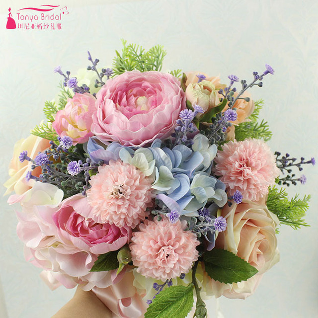 pink champagne wedding bridal bouquet purple green romantic country
