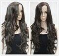 Brown ondulado longo perucas de 24 polegadas sintético perucas frete grátis