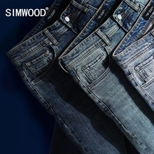 SIMWOOD 2019 New Jeans Men Classical Jean High Quality Straight Leg Male Casual Pants Plus Size Cotton Denim Trousers 180348 cheap Full Length Softener None Midweight Solid Dark Zipper Fly