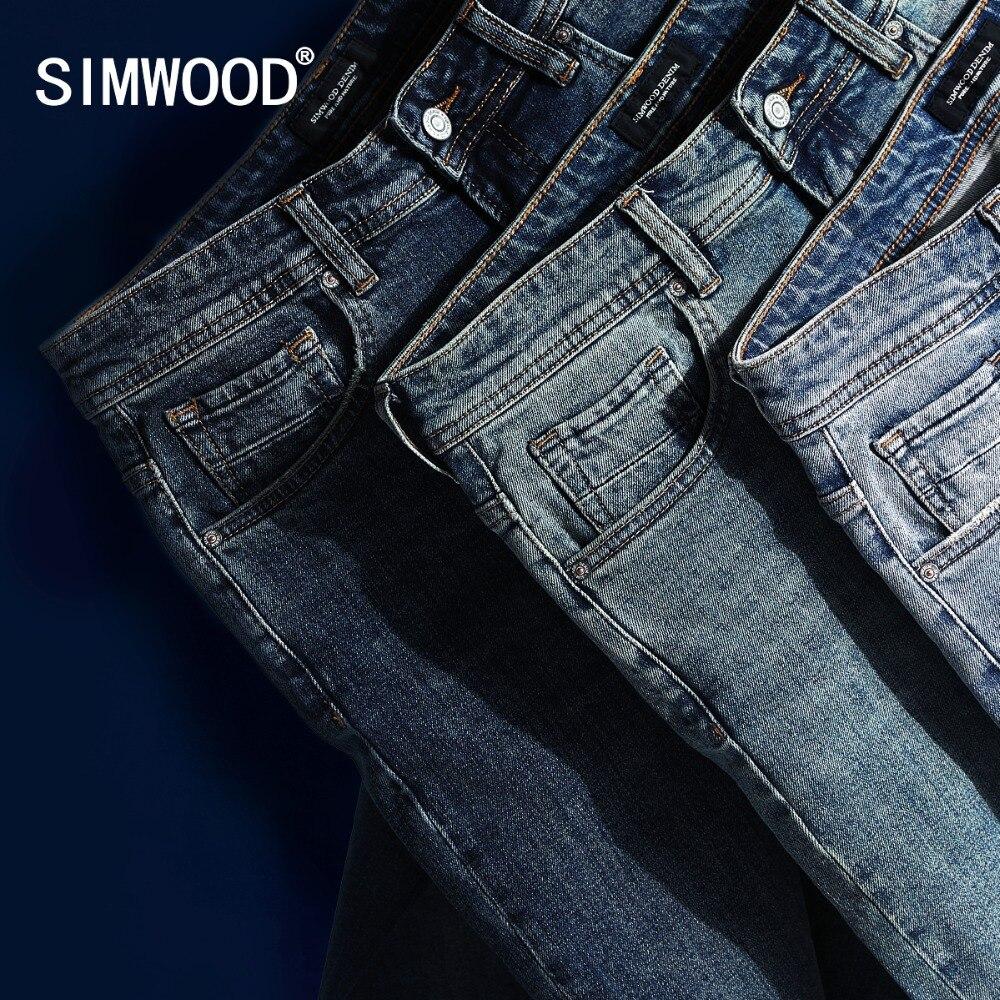 SIMWOOD 2019 nuevos pantalones vaqueros hombres clásica Jean de alta calidad de pierna recta Hombre Pantalones casuales pantalones Plus tamaño de algodón, pantalones de Denim 180348