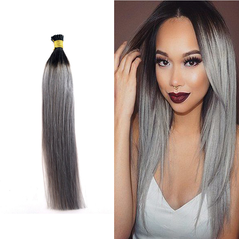 1gs Ombre Grey I Tip Hair Extension Pre Bonded Keratin Hair Extension Straight 1bgrey Fusion Stick Hair Extension In Fusion Hair Extensions From