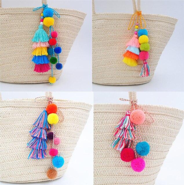 Pompons 1 pc Boho Estilo Chaveiros Com Colorido Saco Pendurado Contas de Madeira Pingente de Borla Para As Mulheres Jóias Verão