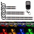 18 Color 6pcs RGB Motorcycle ATV Flexible NEON Strip LED Glow Light Lamp Kit 5050SMD Chopper Frame With Remote Controller
