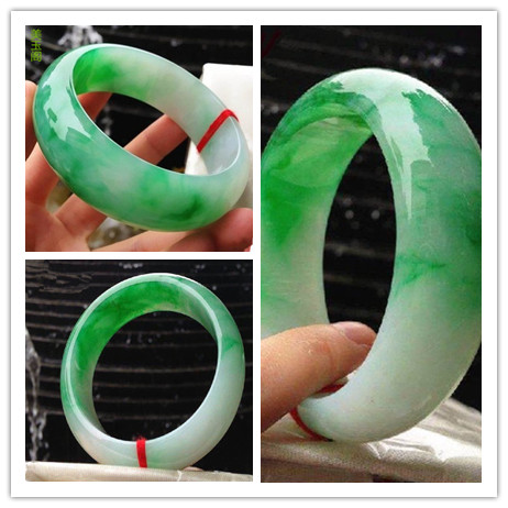 Authentic thick loaded wide version of jade bracelet natural Burmese jade A goods Zhengyang green floating jade bracelet white g-in Bracelets & Bangles from Jewelry & Accessories    1