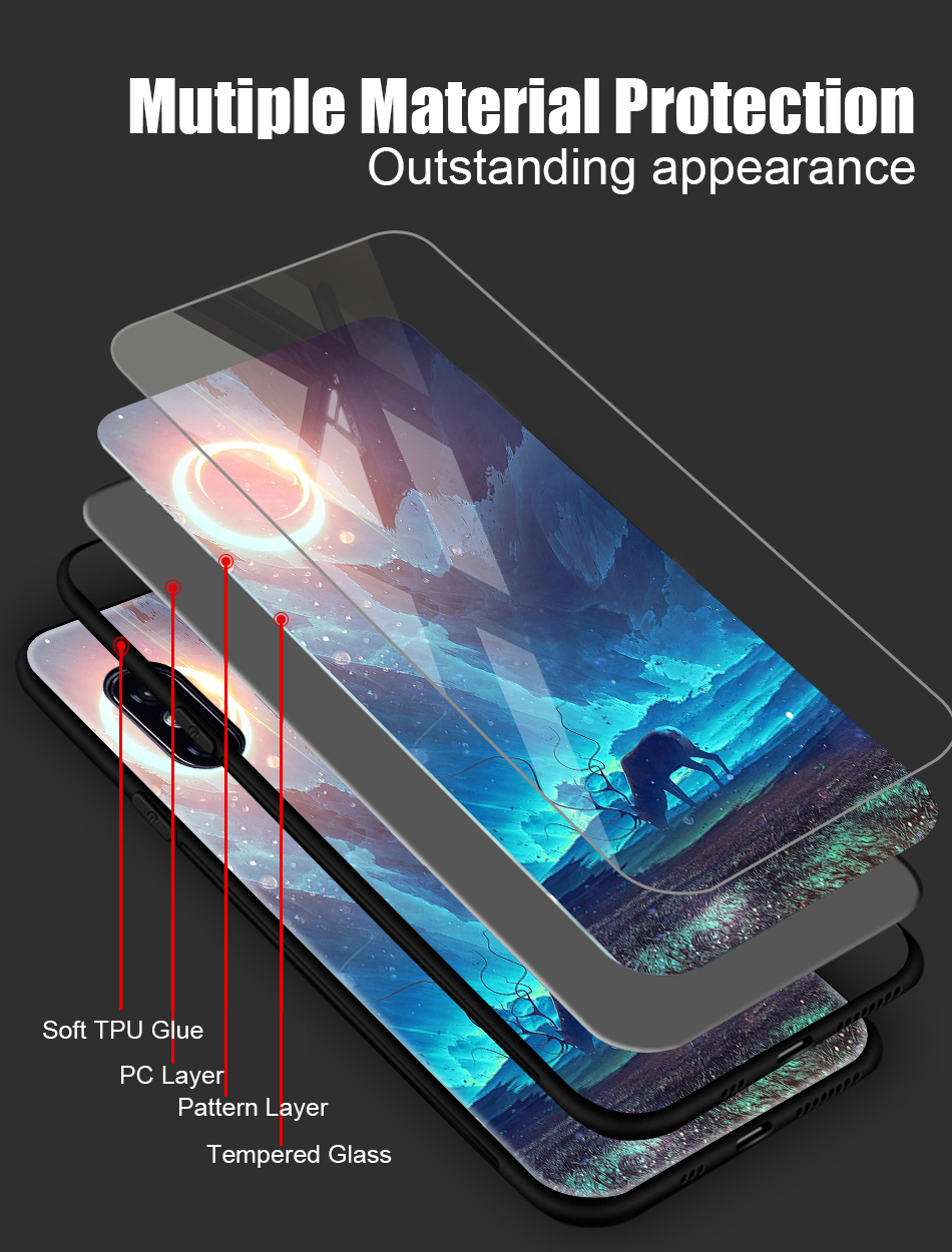 TOMKAS Tempered Glass Silicone Case For iPhone XS Max XR Star Space Cover Phone Case For iPhone X S XS Plus XR 10 Luxury Cases X (5)