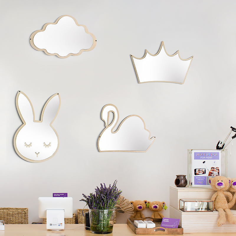 1pc Mirror Rabbit Shaped Cute Self-adhesion Wall Mirror Decal Decorative Mirror For Kids Infant Toddler Baby Children Makeup Mirrors
