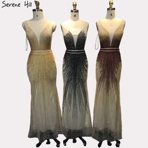 Image 5 - 2020 luxe sans manches col en v Sexy robes de soirée Dubai Design perles robe formelle sereine colline LA60743