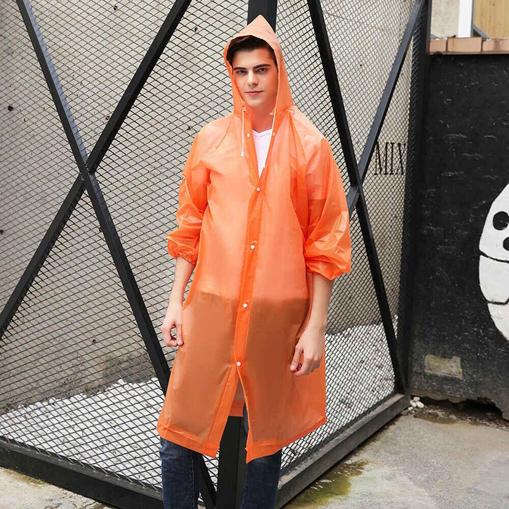 מעיל גשם למבוגרים ברור שקוף עמיד למים פלסטיק לשימוש חוזר גשם פונצ 'ו הוד ליידי גברים נסיעות קמפינג בגדי גשם חליפה