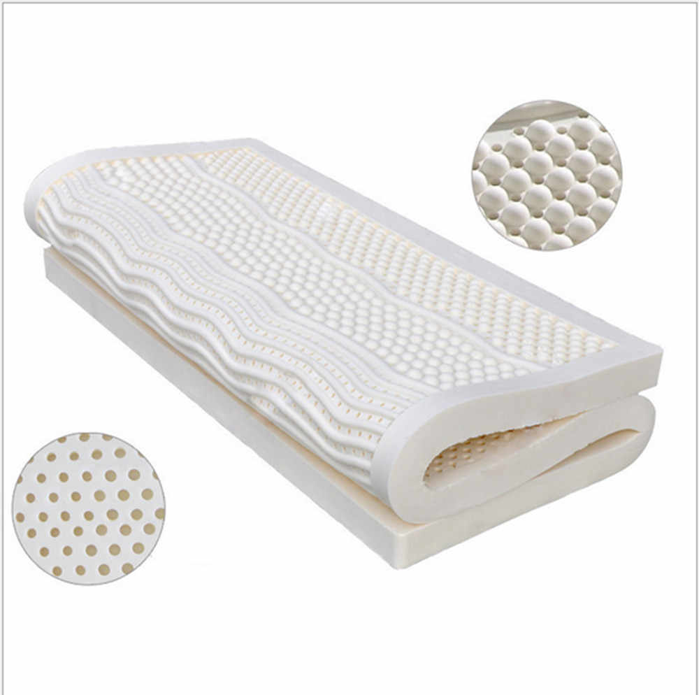 7.5CM Thickness  European  King Seven Zone Mold Ventilated 100%Natural Latex Mattress/Topper Size With White Cover Medium Soft