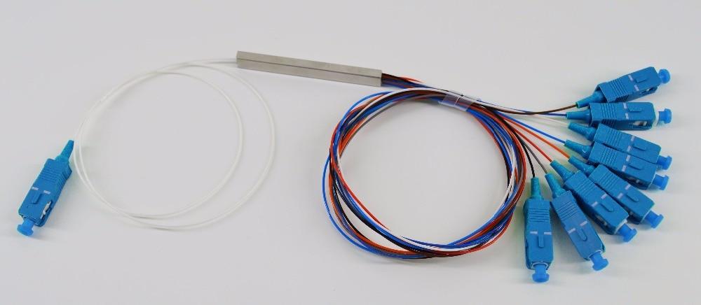 Free Shipping 10pcs/lot 0.9mm Steel Tube 1x8 Mini SC/UPC Fiber Optic PLC Splitter