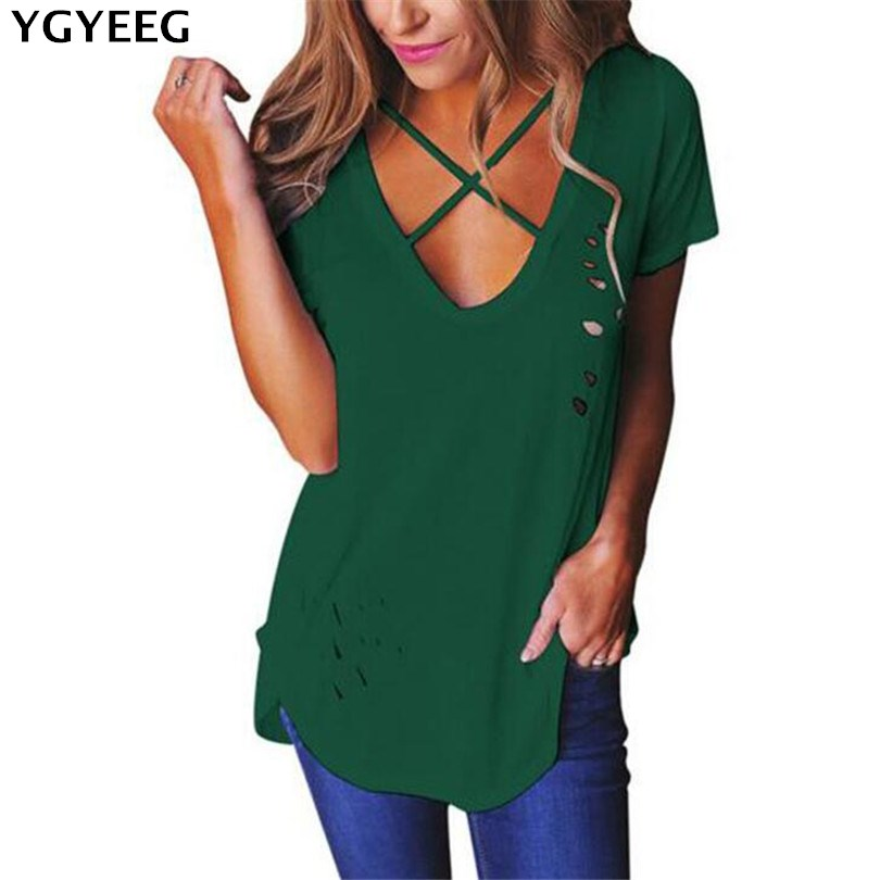 YGYEEG 2018 Summer Fashion Women's Cross Straps Hollow Out Black Shirt Sexy Deep-V Tie-up Female Tops Patchwork Short Sleeve