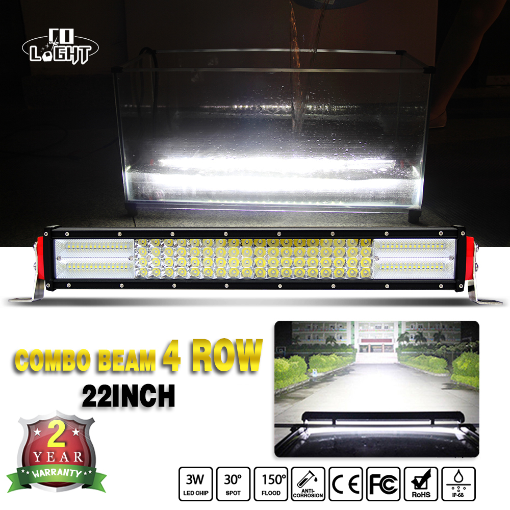 COLIGHT Car LED Work Light Bar 22 Inch 384W 4-Rows Led Bar for Tractor Boat Off Road 4x4 Truck SUV ATV Jeep BMW Car Styling 12V 17 inch 108w led light bar spot flood combo light led work light bar off road truck tractor suv 4x4 led car light 12v 24v