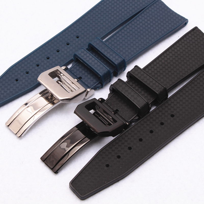 MERJUST Brand 22mm Rubber Silicone Watchband Black Blue Watch Strap For IWC PILOT PORTUGIESER IW323101 With Folding Clasp