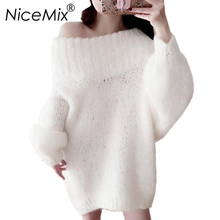 NiceMix 2018 Winter Sexy Off Shoulder Sweater Dress Women Plus Size Loose Elegant Mohair Knitted Pullover Dresses Vestidos