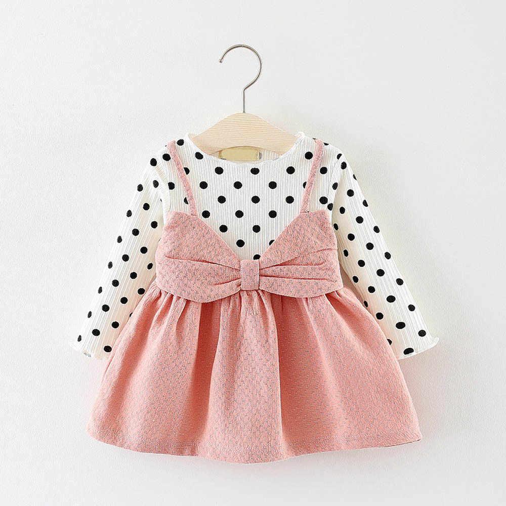 164fae6eae52195 Свадебное платье для малышей новорожденных платья для маленьких девочек  Вязание Длинные рукава в горошек с бантом