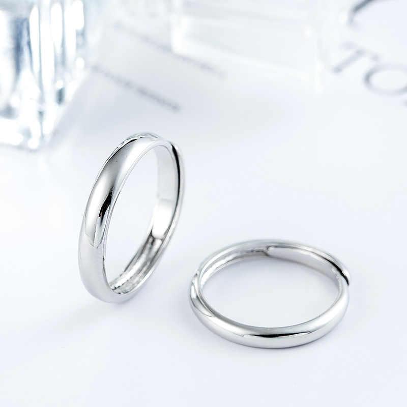 ANENJERY 925 סטרלינג כסף חתונת טבעות לנשים גברים הבטחת זוג פשוט טבעות אירוסין להתאמה S-R405