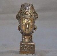 christmas Chinese bronze Kwan Yin Guanyin Bodhisattva Buddha head statue Seal stamp signet halloween