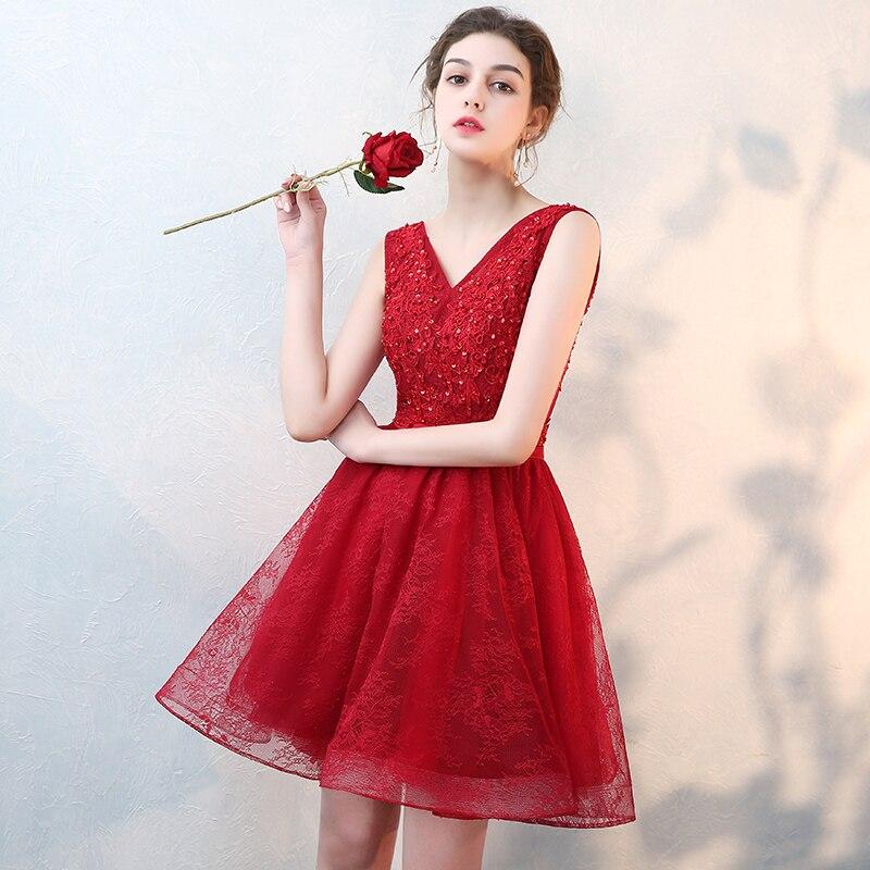 Robe De Soiree 2019 Wine Red V-Neck Sleeveless Short Evening Dress Vestido De Festa Prom Dresses Party Dress Tailor Custom Made