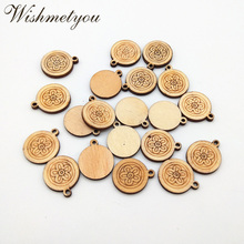 WISHMETYOU 24pcs Flower Natural Wood Slices Diy Necklace Pendant Handmade Pattern Crafts Accessories Wooden Making Gifts Finds