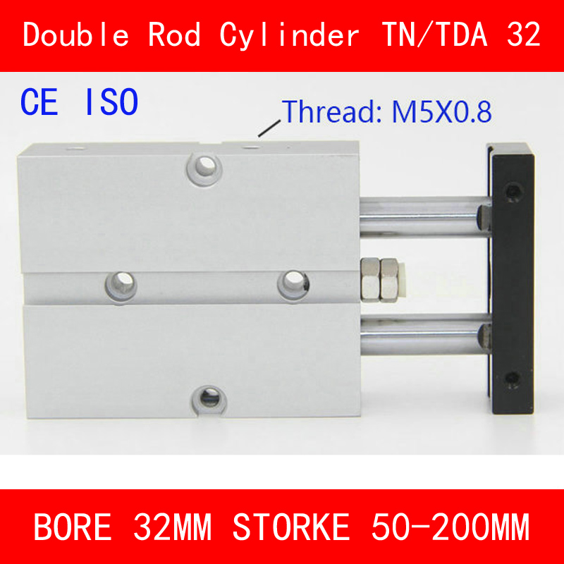 CE ISO TN32 TDA Twin Spindle Air Cylinder Bore 32mm Stroke 50 200mm Dual Action Air Pneumatic Cylinders Double Action Pneumatic