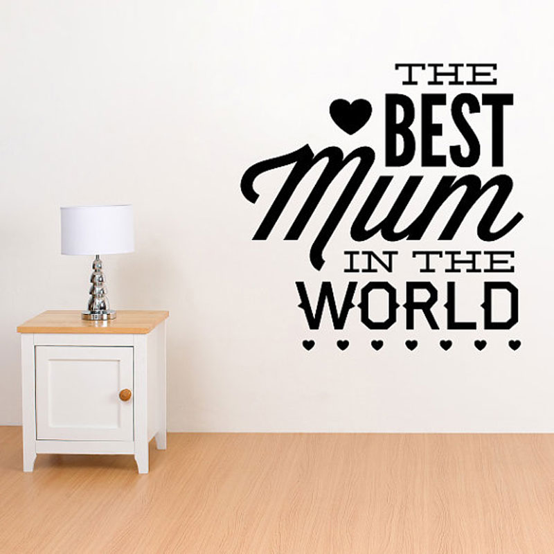 The Best Mum In The World Vinyl Wall Sticker Quotes Mothers Day Wall Decal Home Decor Festival Murals Gift For Mother MD01 image
