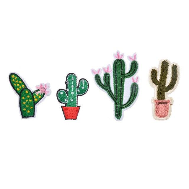 Hoomall Venta Caliente Mezclada 4 Unids Parches Para La Ropa de los Pantalones Vaqueros de Hierro En Apliques Parche De Tela Bordada Accesorios de Costura DIY Cactus