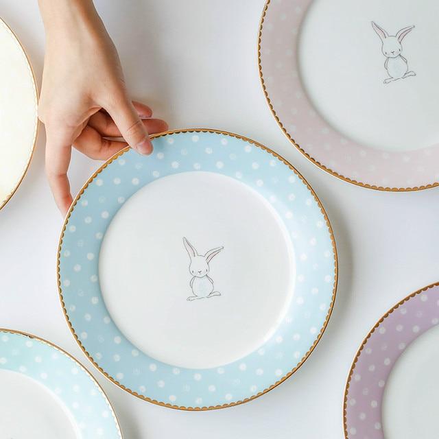 Western-style 8 Inches Ceramic Dinnerware Cartoon Bone Porcelain Dishes for Restaurant Round Lovely Children & Western style 8 Inches Ceramic Dinnerware Cartoon Bone Porcelain ...
