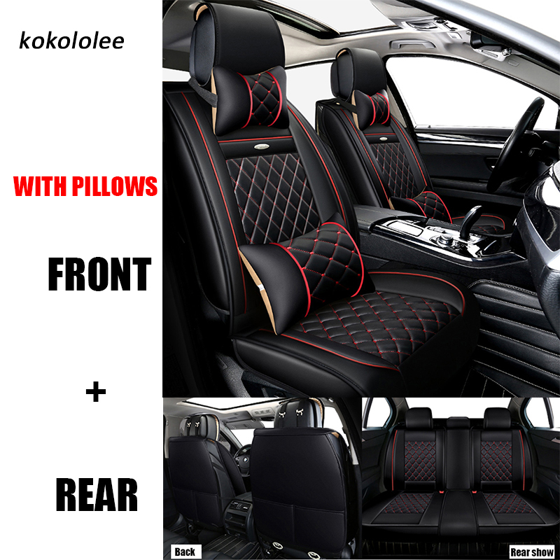 KOKOLOLEE pu leather car seat covers set for volkswagen vw golf 4 5 passat polo tiguan car seats Protector cushion cars-styling 4pcs set smoke sun rain visor vent window deflector shield guard shade for vw volkswagen passat b8 2015 2016 2017