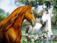 Diy 5d Diamond Painting Horses Pattern Mosaic Paste Mode Resin 3d Round Diamonds Crystal Embroidery Paintings