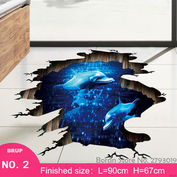 7 Kinds Dolphin Floor Stickers Sea Animals 3D Wall Stickers Bedroom Home Decors Mural Art Wall Decals Vinyl Wallpaper Waterproof 12