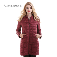 Allure Amore Fashion Women Jacket Spring Winter Jacket Office Lady Light Warm Clothes Thin Medium Long
