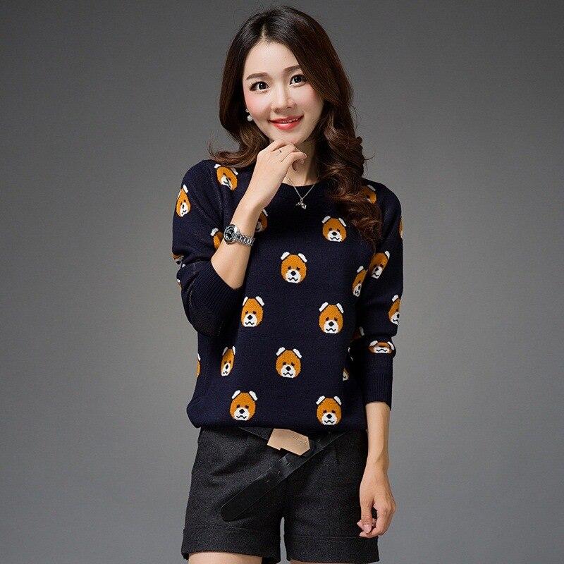 New Fashion 2019 Autumn Winter Women Oversized Cashmere  Loose Pullovers Sweaters Cartoon Bear Warm Sweater  Chrismas Gift