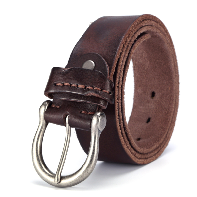 "Leather Belt For Men Orange Casual Pin Belt Buckles Pure copper Buckle 46/"""
