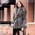 Classic Design Fox Fur Hooded Rex Rabbit Fur And Skin Jacket With Cap Vintage Real Fur And Leather Coat High Standard