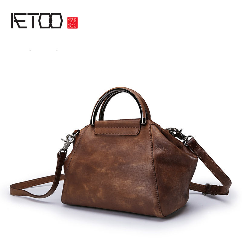 AETOO Genuine leather bag 2017 new first layer of cowhide lady retro art simple hand wiping handbag shoulder bag art of war