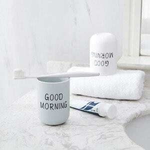 Image 4 - פשוט נורדי פלסטיק מחזיק מברשת שיניים נסיעות נייד כביסה כוס בוקר טובה שן מברשת אחסון ארגונית כוס אמבטיה סטים