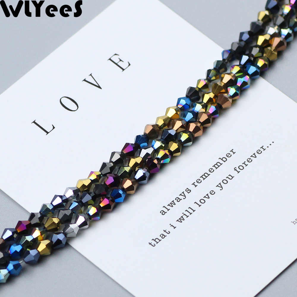 WLYeeS Plating 4mm Necklace for Austrian Bicone crystals beads 100pcs Multicolor Loose Space bead Pendant Accessories Making DIY