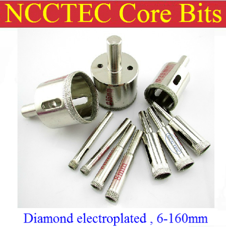 25mm NCCTEC Electroplated Diamond coated core drill bits ECD25 FREE shipping | 1'' inch water WET glass ceramics coring bits  30mm electroplated diamond coated core drill bits ecd30 free shipping 1 2 inch water wet glass ceramics fast coring bits