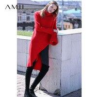 Amii Minimalist Turtleneck Sweater Women Autumn 2019 Causal Asymmetrical Hem Rabbit Fur Pullovers Long Red Sweater