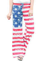 2018 New Arrival Summer Women's Casual Blue Red White The American Dream Striped Lounge Pants LGY77101