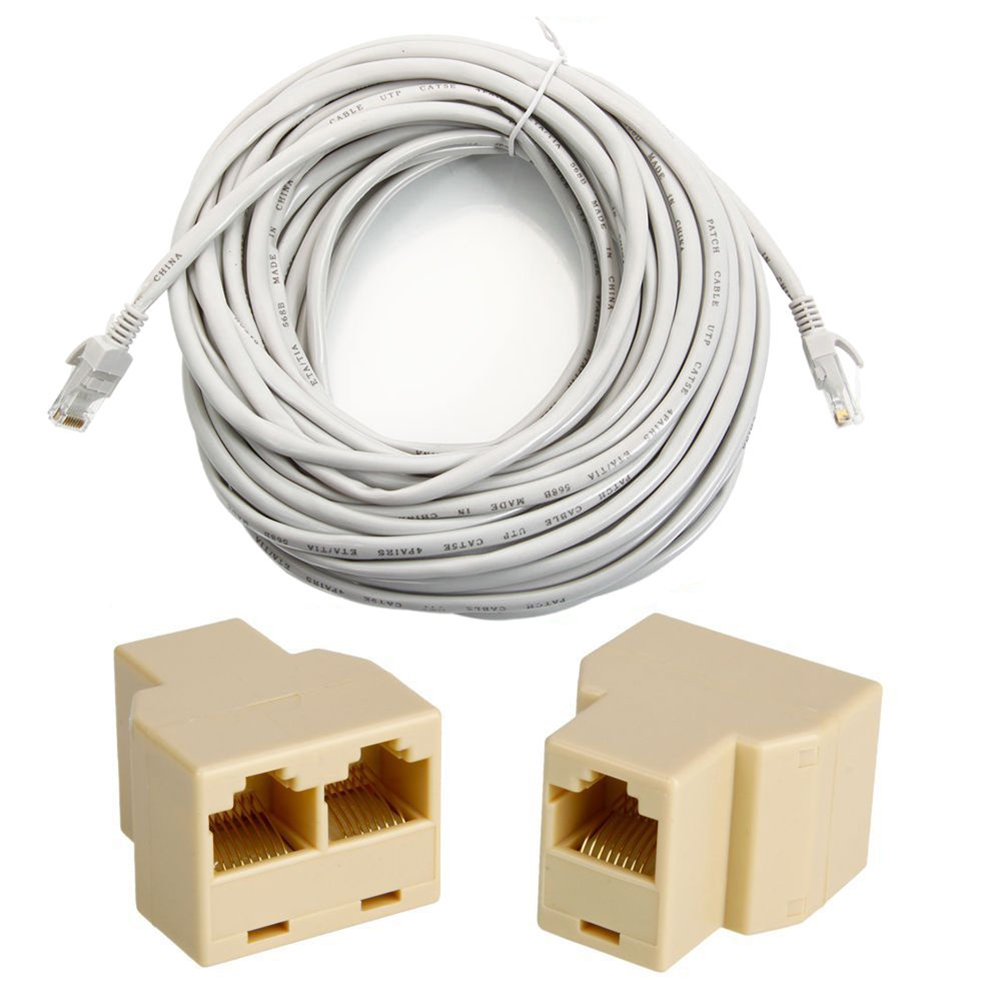 #K1 HOT-50'FT 15M CAT5 5E RJ45 Patch Ethernet Network Cable Grey + PC Connector Adapter