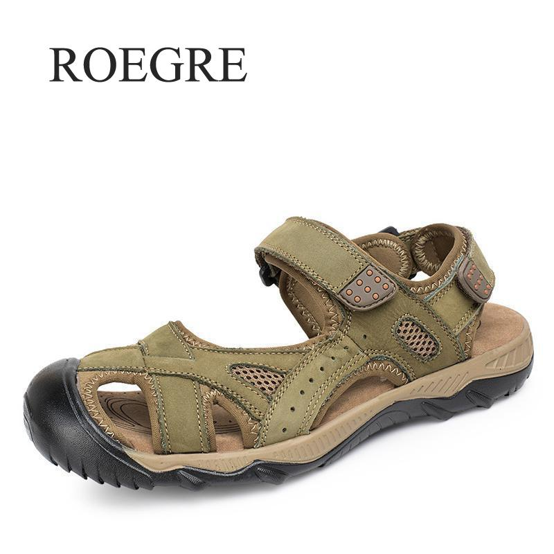 ROEGRE New Arrival Summer Mens Sandals High Quality Real Leather Mens Shoes Slippers Beach Walking Casual Shoes Big Size 38-47