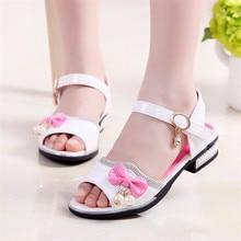 Student Open toe sandals 2017 Korean version new summer fashion princess shoes large kids diamond pearl