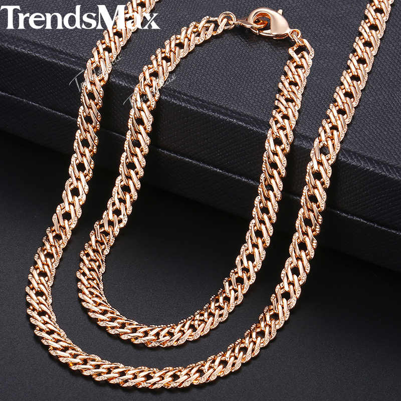 Womens Jewelry Sets 585 Rose Gold Bracelet Necklace Set Hammered Venitian Chain 2018 Wholesale Dropshipping Jewelry  5.5mm KCS03