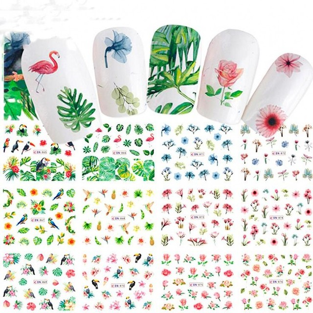 12 Sheets Nail Art Water Decals Stickers