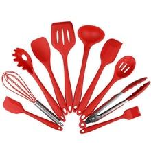 10 Teile/satz Silikon Koch Werkzeug-sets antihaft Schneebesen Spatel Löffel Schaufel Schöpfen Spaghetti Server Öl Pinsel Küche utensilien