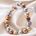 Fashion Real Natural Freshwater Baroque Pearl Women Bracelet Vintage Multi Color Big Pearl 9-10 mm Bracelet 18 cm / 20 cm