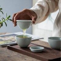Ovo Em Forma de Xícaras de Chá Chinês do Kung Fu Jogo de Chá Gaiwan Bule Conjuntos de Chá para o Presente Teavel Chá Conjunto com o Saco|Jogos de chá| |  -
